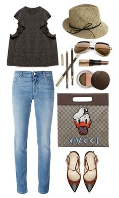 """""""Zara Top"""" by thestyleartisan ❤ liked on Polyvore featuring Givenchy, Nine West, Gucci, Justine Hats, Becca and Bobbi Brown Cosmetics"""