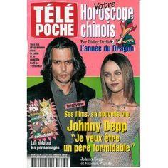"""Johnny Depp avec Vanessa Paradis , ses films, sa nouvelle vie : """"Je veux être un père formidable"""", dans Télé Poche n°1773 du 31/01/2000 [couverture isolée et article mis en vente par Presse-Mémoire]"""