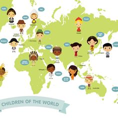 Iconic cultural world map pop and lolli oth pinterest city world map map of the world children with traditional costume illustration poster print a3 by gumiabroncs Images