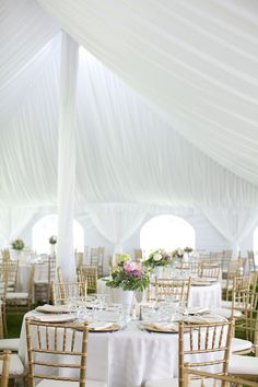 Tent-Reception-Gold-Chivari-Chairs   photography by http://www.simplyjessie.com/