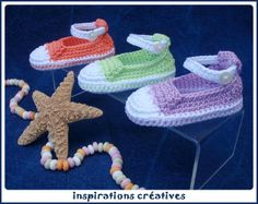 Cette semaine, je vous offre une petite gourmandise... des mini tennis pour bébé fille à crocheter dans des tons pastels très à la mode...