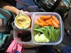 Airport snacks/lunch! Carrots, snap peas, cucumbers, cherry tomatoes and yellow peppers underneath hummus, blackberries. #foodforharper #bento #kitchensinklunch please follow along at www.facebook.com/FoodForHarper
