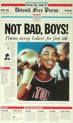 """Not Bad, Boys"" 1989 Detroit Pistons Free Press Poster – Detroit Sports Outlet Detroit Basketball, Detroit Sports, Basketball Uniforms, Pistons Basketball, Basketball Jones, Basketball Shooting, Pro Basketball, Bad Boy Pistons, Sport Nutrition"
