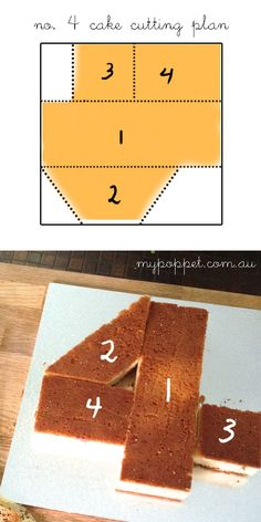 How to cut a number 4 cake mypoppet.com.au