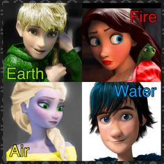 Jack = Earth. Rapunzel = Fire. Elsa = Air. Hiccup = Water. My edit xD