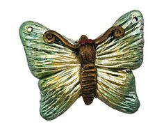 Poison Tree Polymer Clay Green Butterfly 33-34x27-28mm