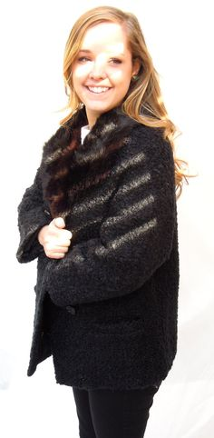 vintage.persian lamb swing coat.50s-60s.fur collar.black.PERFECT.fully lined.tessiemay