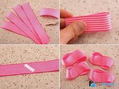 Изготовление банта из розовой ленты