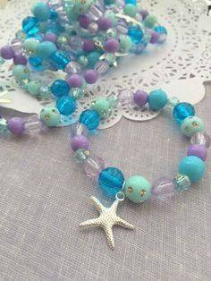 by buysomelove Mermaid party favor starfish kids jewelry bracelet. by buysomelove Mermaid Party Favors, Mermaid Theme Birthday, Little Mermaid Birthday, Little Mermaid Parties, Moana Birthday, 5th Birthday, Party Favours, Birthday Games, Mermaid Under The Sea
