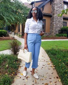 Shirt, cropped pants, mules and handbag | For more style inspiration visit 40plusstyle.com