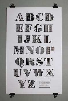Bodoni  This decorative alphabet was produced by Nigel Bents, Paul Oakley and Jonny Holmes at Chelsea College of Art & Design. Based on a downloaded Bodoni Poster font.