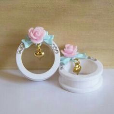 Image of Limited Edition Pastel Rose Tunnels Ear Jewelry, Cute Jewelry, Body Jewelry, Jewelery, Skull Jewelry, Hippie Jewelry, Plugs Earrings, Gauges Plugs, Fake Plugs