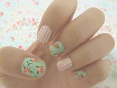 for flower and striped nails