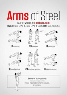 Neila Rey originally shared: Arms of Steel Workout What it works: Triceps deltoids upper back chest obliques biceps lower back core abs cardiovascular system aerobic performance Max). Fitness Workouts, Gym Workout Tips, Toning Workouts, At Home Workouts, Fitness Tips, Health Fitness, Arm Workout No Equipment, Arm Exercises, Aerobic Exercises