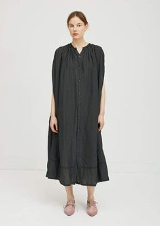 Pas De Calais Collarless Button Front Dress Charcoal
