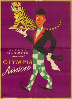 Vintage German Circus Poster 'Zirkus Olympia Serviert Olympia Auslese' 1910