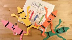 "Fun crayon craft buddies inspired by Drew Daywalt's picture book: ""The Day the Crayons Quit."" This craft template is available for FREE at craftypammy.com/crazy-crayon-craft/"