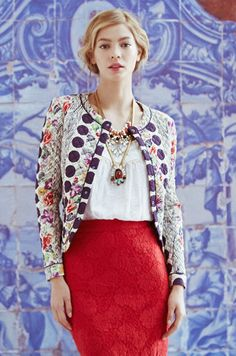 Love Is In The Air: Salta Quilted Jacket, Alva Lace Pencil, Ornamental Pullover, Gracie Jewel Bib, Desert Flower Necklace #anthropologie