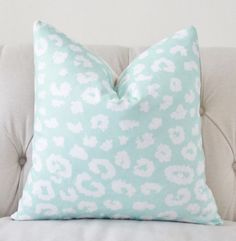 *Front Fabric Only: White Leopard Screen Print on an Aqua Linen Cotton Fabric *Back Fabric is an Off White Linen Fabric    *This listing is for One