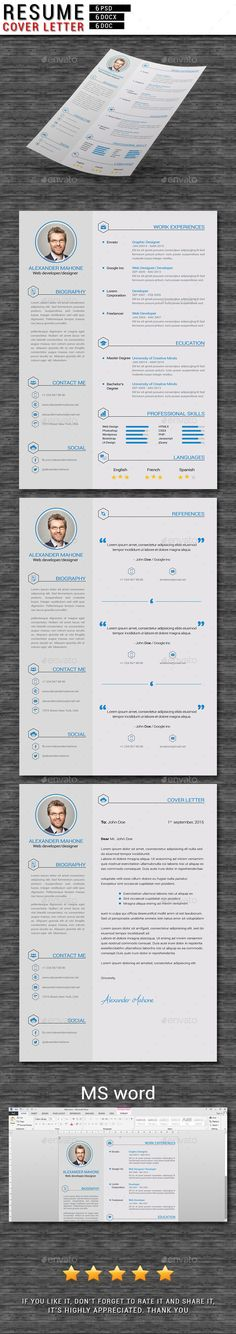 Resume / CV by firassaidi Resume / CVResume / CV template pack includes files for MS Word (DOCX & DOC) and .psd files for Photoshop Easy To Edit Clean resum Best Resume, Resume Tips, Resume Cv, Resume Writing, Resume Design Template, Creative Resume Templates, Modern Cv Template, Cv Digital, Cv Photoshop