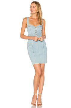 NICHOLAS Denim Paneled Dress en Washed Blue | REVOLVE