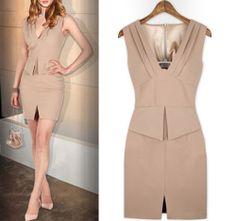 OL Office Ladies Pleated Deep V Neck Peplum Zip Back Slim Fit Dress Pink M D35 | eBay