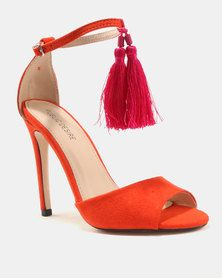 23885adf198e Public Desire History Tassel Detail Barely There Heels Orange Pink
