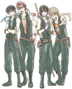 Teenage Mutant Ninja Turtles, anime boys, human form, cute; Anime