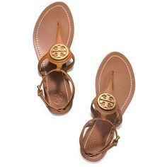 Tory Burch Leticia Flat Thong Sandal ($175) ❤ liked on Polyvore featuring shoes, sandals, tory burch, miniature shoes, tory burch sandals, leather flat shoes, toe post sandals and leather footwear