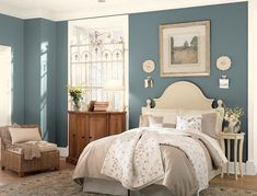 Love this paint color! Benjamin Moore Knoxville Gray (HCC-160), changes with the light. More blue in the morning, greenish at night, and gray in full sun.