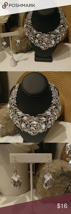 """AUSTRIAN CRYSTAL PARTY STATEMENT NECKLACE SET Made of beautiful Austin crystals of all shapes and sizes set in silver plated alloy.  This is a new item,never worn.   Comes with earrings.   Necklace has a lobster clasp.   Necklace is 1 1/2"""" at it's widest part. Jewelry Necklaces"""