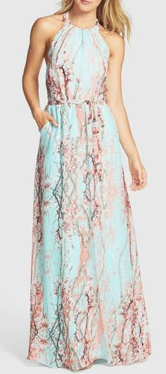 Nordstrom  Jessica Simpson Print Chiffon Halter Maxi Dress.  Cute dress! And it has pockets?!?!?! Awesome!