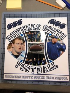 Sports stencil … Football Crafts, Football Signs, Football Cheer, Scrapbook Paper Crafts, Scrapbook Cards, Sport Craft, Sports Mom, Creative Memories, Scrapbook Page Layouts