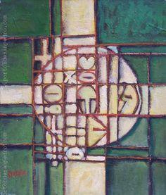 "Edwin Studer (Taller Torres García) ""Crucifijo Constructivo"" Óleo sobre tela 56 X 48 cms.  http://www.portondesanpedro.com/ver-producto.php?id=9198"