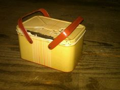 1950's Era Child's size picnic food carry tote metal lunch pail. $17.95 on GoAntiques