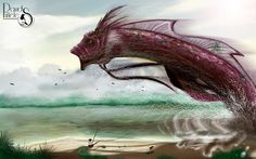 David Piñeles Ilustraciones: Dia de pesca. #DavidPiñelesIlustraciones #Dibujo #Draw #Illustration #Ilustracion #Digital #Concept #Art #Character #Design #Monstruo #Rio #Pez #Monster #Fish #River