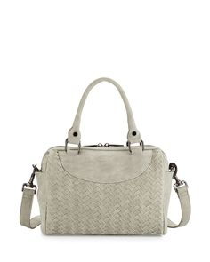 c586a0a8fb2 Neiman Marcus Distressed Woven Small Duffel Bag, Pale Gray, Pale Grey Duffel  Bags,