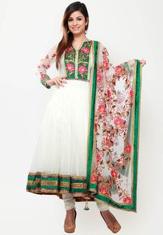 BARCODE 91 Full Sleeve Embellished White Suit Set - White Anarkali suit set for women from Barcode91. Made from net, it features floral embroidery, embellishment and flared fit.