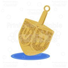 Swirls Chanukah Dreidel Free SVG Cutting File & Clipart