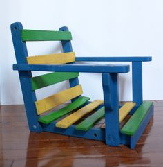 Vintage Colorful Wooden Child's Swing Seat