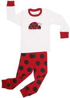 127e9727fe Elowel Girls Ladybug 2 Piece Pajama Set 100 Cotton 1218 Months   Learn more  by visiting