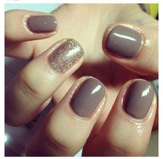 CND shellac - rubble with a glitter feature nail by lydia