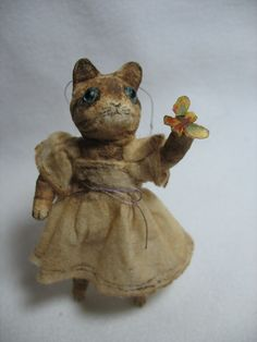 cat with butterfly spun cotton ornament