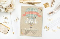 Hot Air Balloon Invitation- Baby Shower- Bridal Shower- Birthday- Blue- Salmon Pink- Antique- Vintage- Tan- Printable- Digital File- DIY by 4414Designs on Etsy