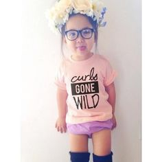 1824MO up to 3T APRICOT  Curls Gone Wild tee by kenziejaws on Etsy, $22.00