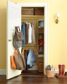 Smart Closet Storage -- Too often, the entryway is where everyone in the family dumps their belongings when they come home. But you can make this space orderly and functional with our easy and stylish solutions. Front Hall Closet, Entry Closet, Closet Rod, Entry Hall, Front Entry, Small Entry, Front Hallway, Bathroom Closet, Closet Doors