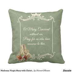 Madonna Virgin Mary with Christ Child Jesus Throw Pillow