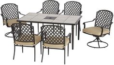 Marysville 7-Piece Patio Dining Set with Beige Cushions (Free Shipping) $399.00 (homedepot.com)