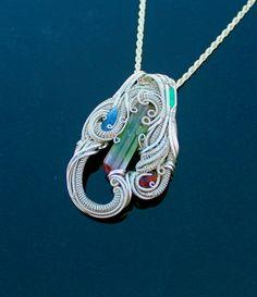 heady silver wire wrap / Paprook multi-colored Tourmaline Rhodocrosite Raw sapphire Emerald handmade jewelry / raw crystal gemstone pendant