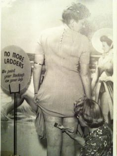 """No more ladders! We paint your stockings on your legs ... ""    During the 1940's stockings rationing a beautician at the newly opened 'Bare Legs Beauty Bar' at Kennard's store in Croydon paints stockings onto customers skin."